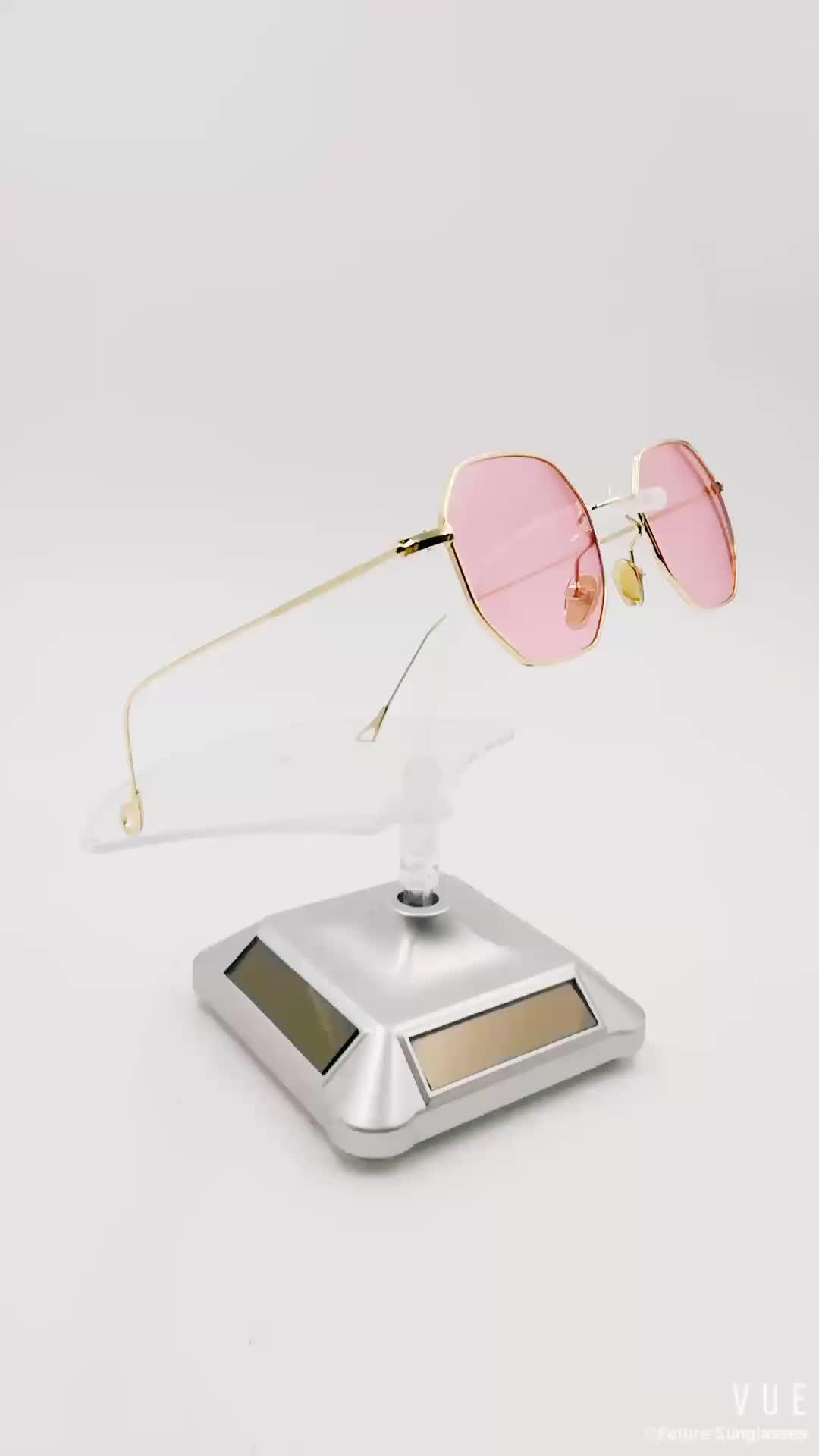 72026d54870e5 6660 Designer Hexagon Chic Sunglasses Womens Summer Alloy Frame Clear Red  Ocean Lens Small Metal Frame