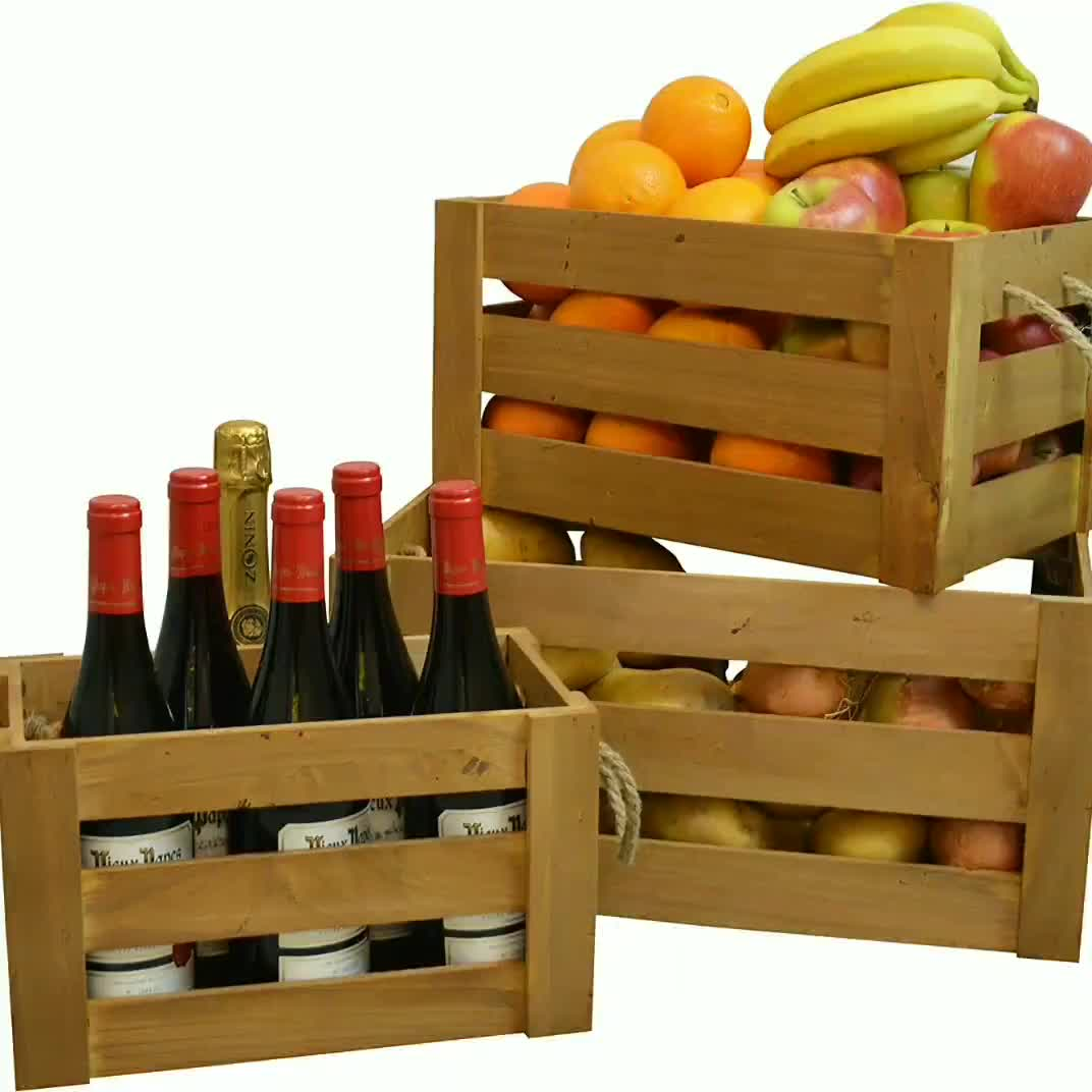 Piccolo Commercio All'ingrosso di Trasporto Pieghevole Birra Vino di Legno Crate Box