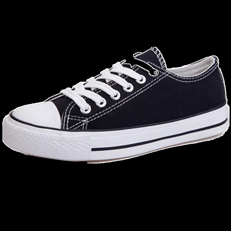 新款小白帆布女鞋秋季百搭潮鞋韩版2019秋鞋黑色布鞋学生球鞋板鞋