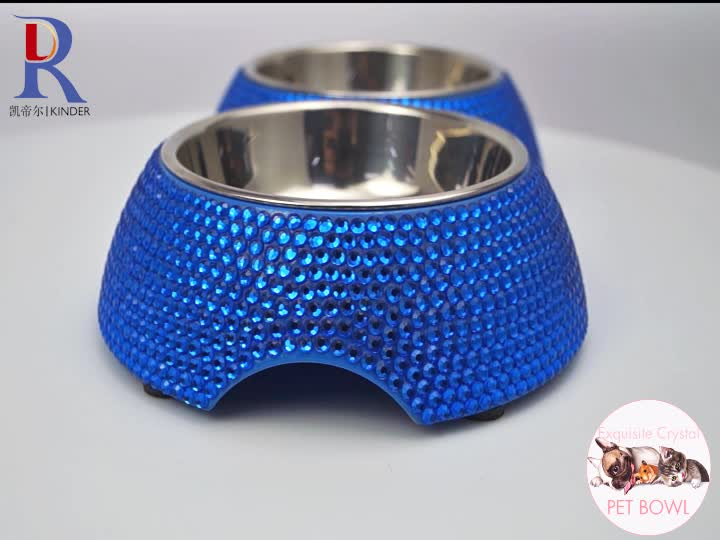 Wholesale rhinestone dog bowl bling crystal beaded pet food bowl Eco-Friendly pet feeding bowl