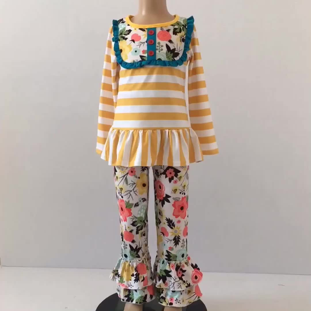 Vintage Yellow Stripe Floral Ruffle Pants Boutique