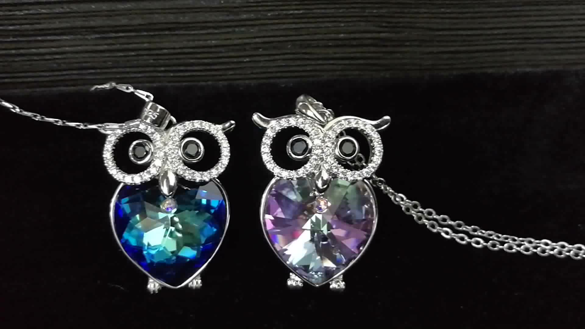 ODM OEM crystals from Swarovski manufacturer custom 925 sterling silver / brass charm owl pendant necklace jewelry