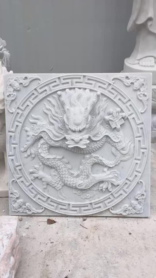 Hand Carving Natural Stone Sculpture Chinese Dragon Relievo Wall Water Fountain