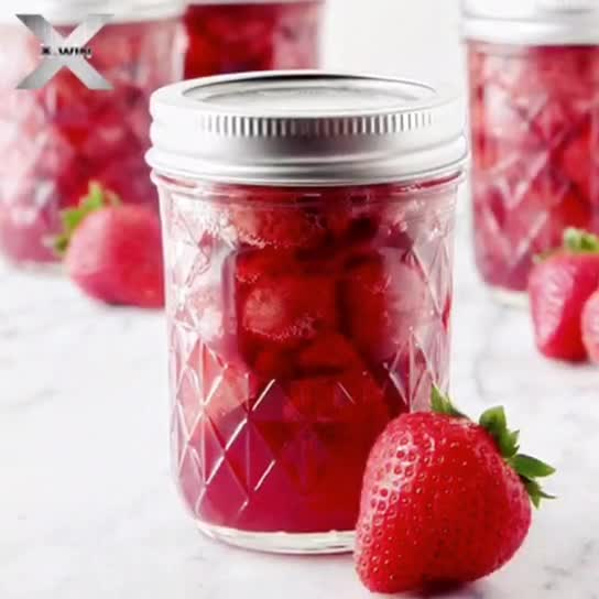 16oz embossed glass mason jar with handle and lid wholesale