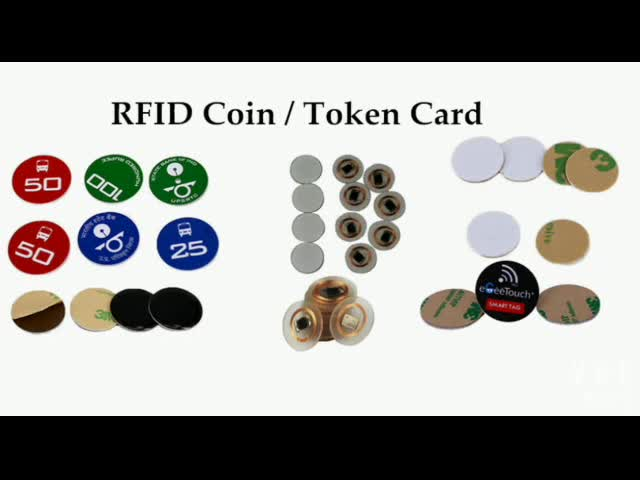 RFID PVC coin tag support 125khz, 13.56Mhz frequency, adhesive and epoxy optional