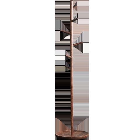 黑胡桃实木北欧落地树杈衣帽架客厅简约衣服架卧室家用立式挂衣架