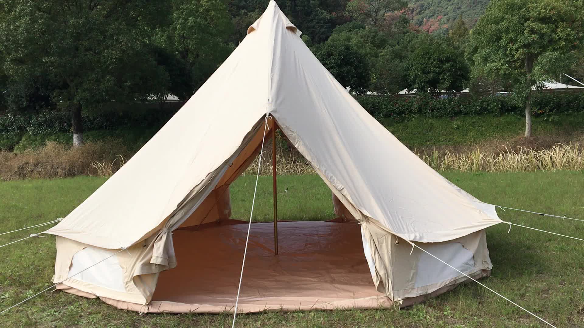 Waterproof and fireproof camping white bell tent waterproof for big party