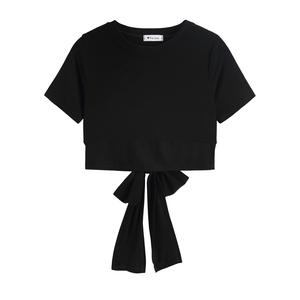 纯色修身露背女短袖2021新款t恤