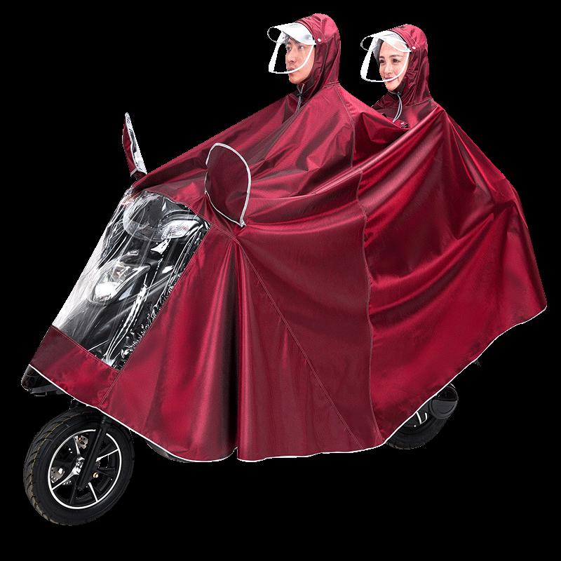 卓菲图电动车电瓶摩托车雨衣加大加厚双人提花双帽檐男女骑行雨披