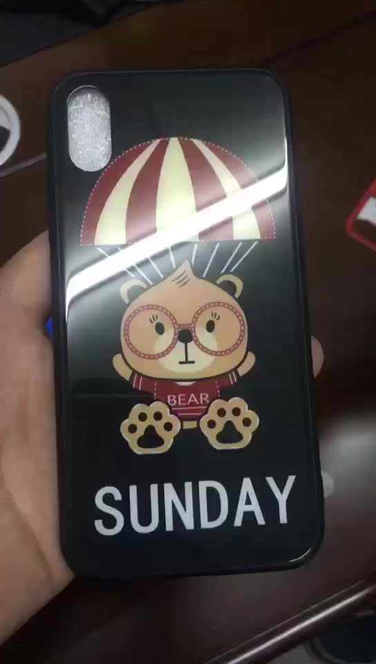 Factory manufacturer 3 in1 Anti-scratch cartoon cover mobile case 9H Glass phone case cover for iphone 7plus/8plus