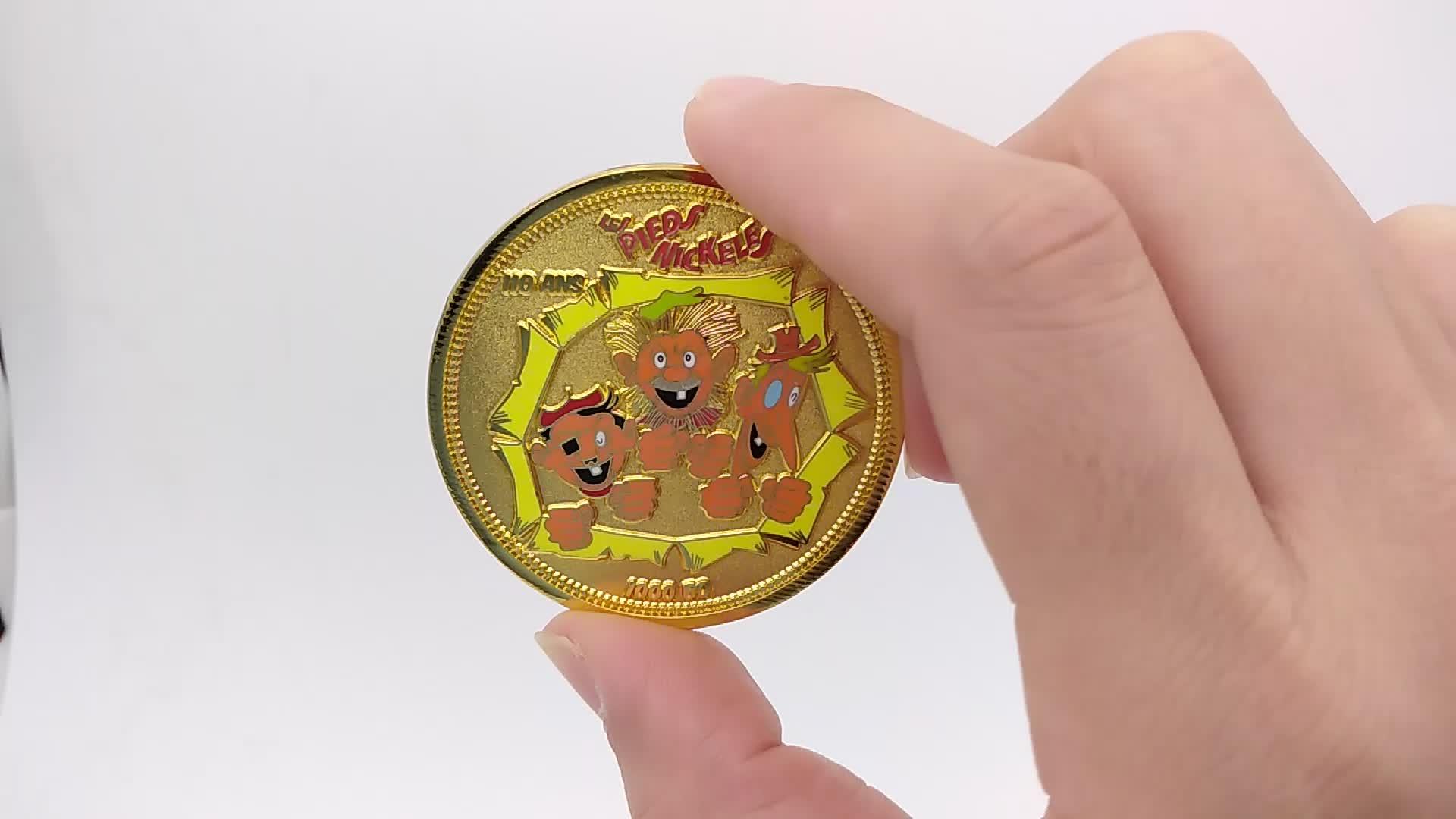 Custom metal hard enamel wedding challenge coin phoenix souvenir coin