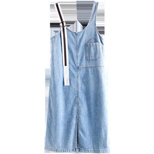 怪獸揹帶裙夏女2020新款韓版原宿風牛仔裙冷淡風連衣裙超仙