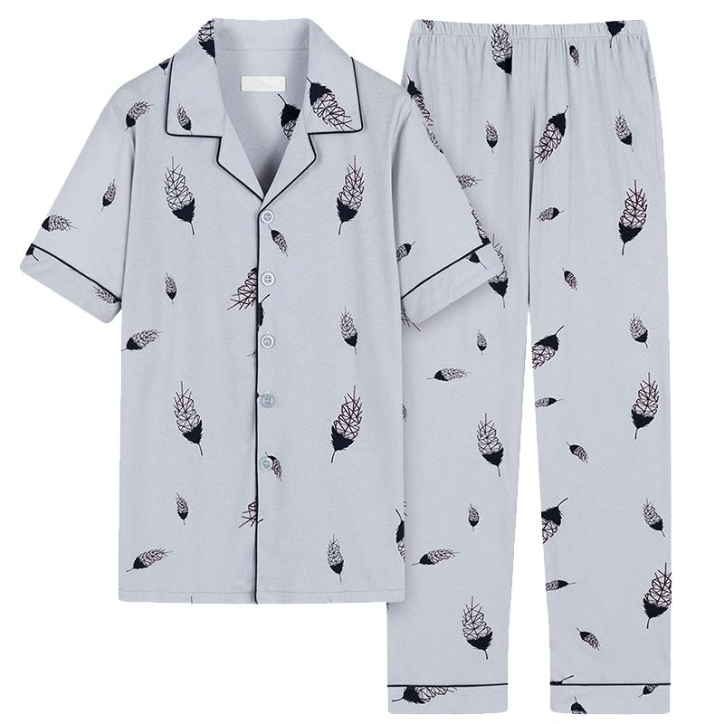 男士睡衣夏季纯棉短袖长裤春秋青少年薄款夏天全棉男式家居服套装