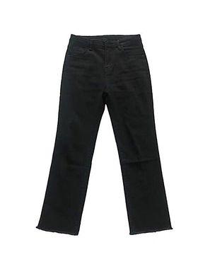 高腰黑色牛仔裤女显瘦直筒裤弹力烟管裤大码胖MM春秋薄绒阔腿裤子