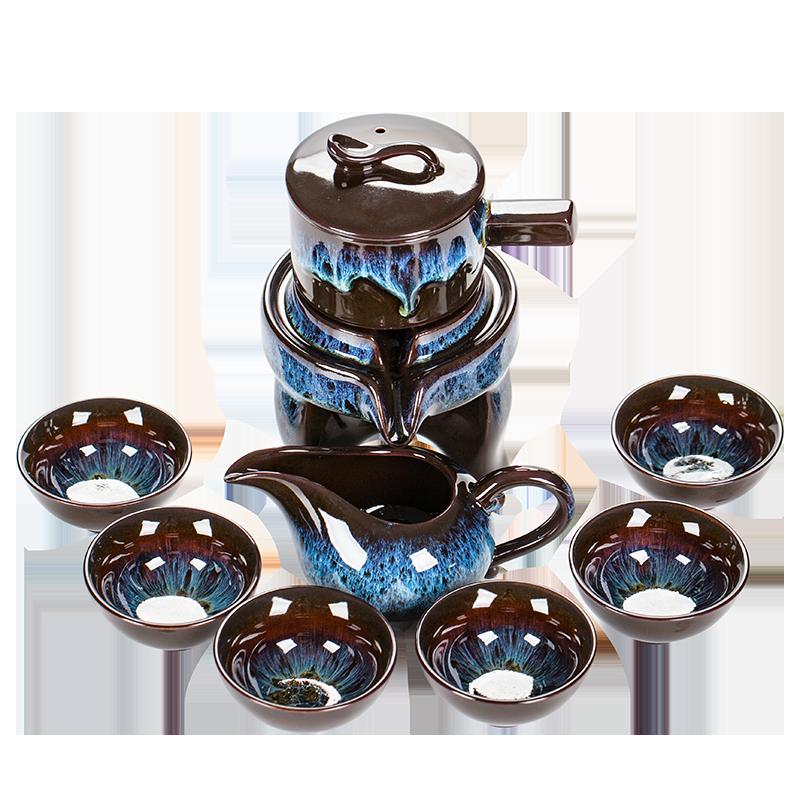 建盏自动懒人功夫茶具套装家用泡茶壶时来运转石磨小套办公室会客
