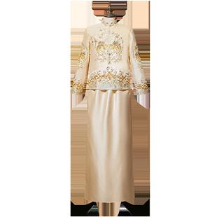 秀禾服2020新款結婚中式新娘服出閣服香檳色秀禾情侶龍鳳褂秀和服