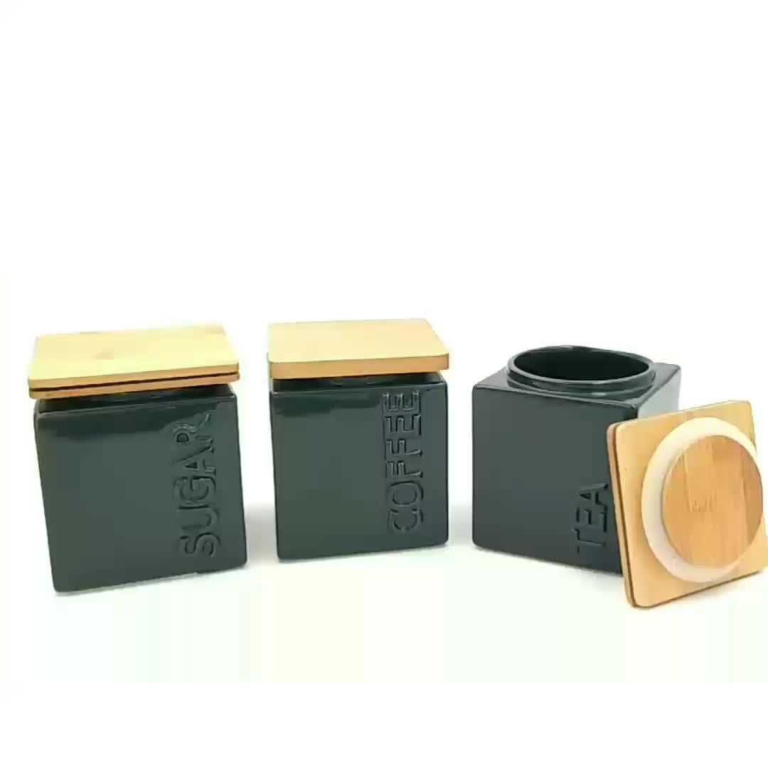 Glänzende glasierte keramische Teezucker-Kaffeekanister mit Bambusdeckel