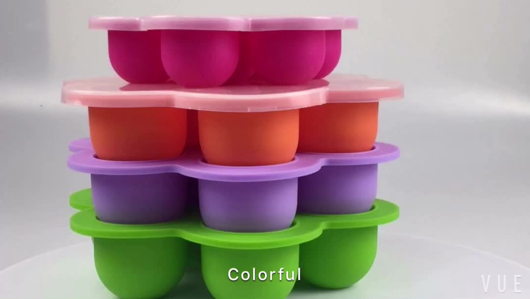 Food Grade Silicone Round Baby Food Storage Freezer Containers With Lid