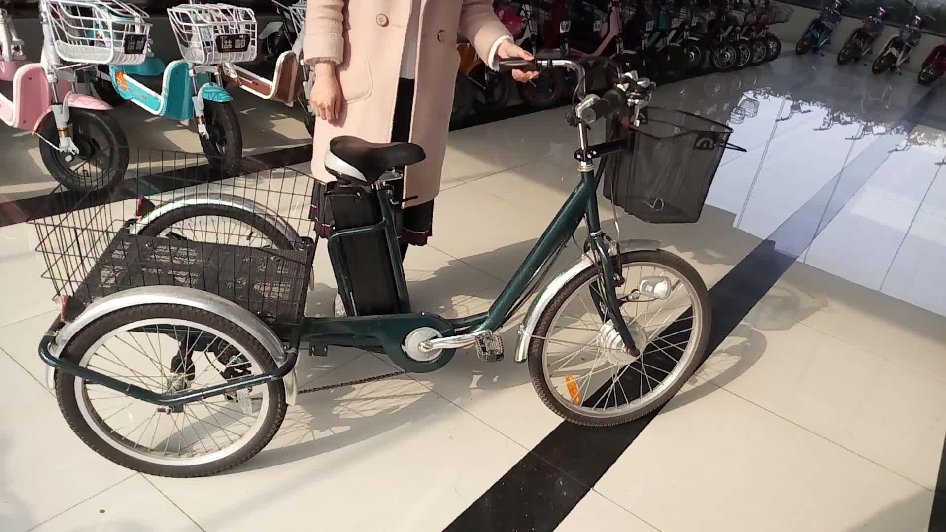 Elettrico a tre ruote cargo bike, 3 ruote bicicletta elettrica cargo trike tri rider (elek) trike per adulti