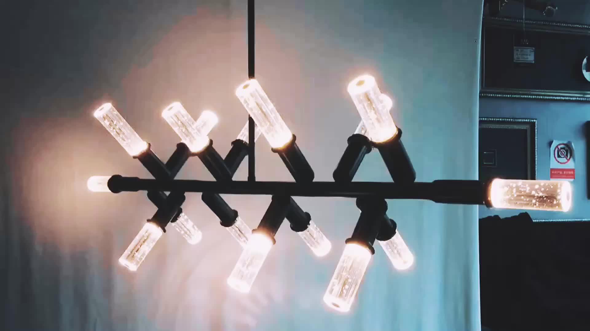 Restaurant decorative black rectangle hanging lamp dining table top modern luxury k9 crystal chandelier light