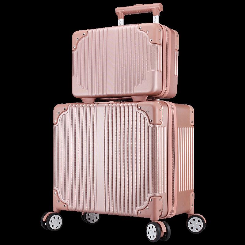 登机箱16寸小型行李箱潮流拉杆箱男女化妆箱包旅行箱万向轮子母箱