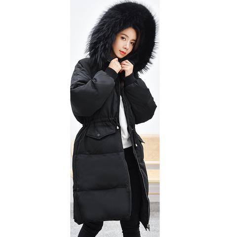 羽绒服女中长款过膝2019新冬季东大门爆款韩版加厚保暖大毛领外套