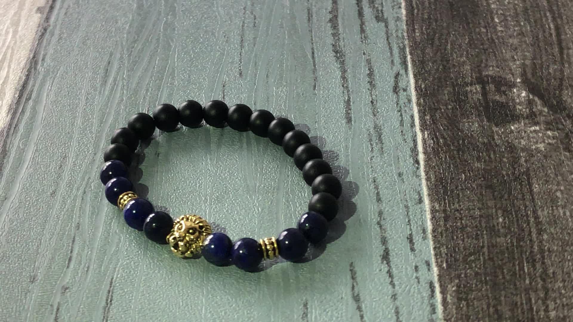 SN0698 8mm Imperial Jasper Bracelet Lion Jasper Blue Emperor stone Bracelet Stretch Mens wrist Gift for Him