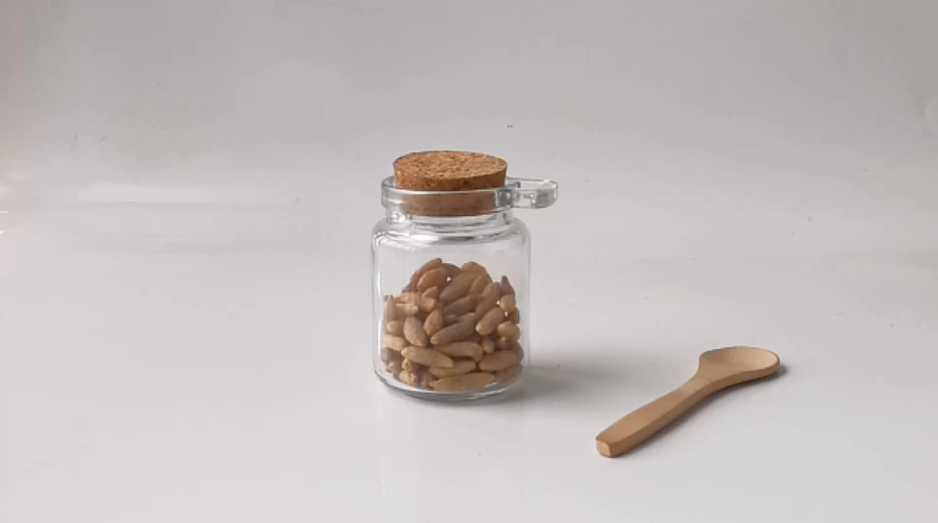 3oz 8oz glass spice jar with spoon and cork lid wholesale glass candy jar with