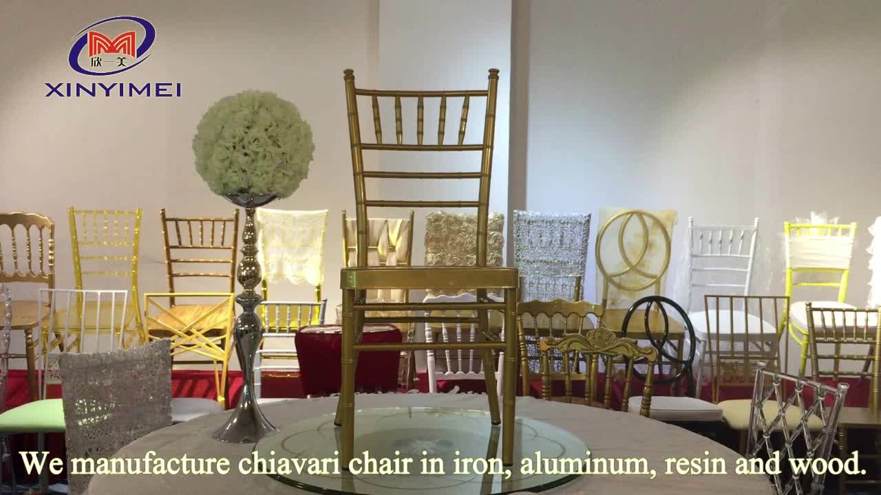 Wholesale high quality wedding aluminum sillas tiffany chair with cushion