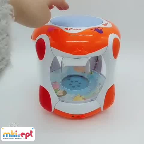 2017 Cartoon electric fountain toy drum baby musical toy for sale