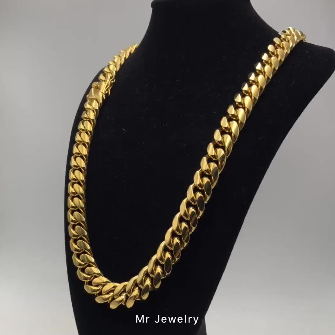 Wholesale Miami Cuban Link Chain Hip Hop Necklace Jewelry