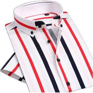 夏季纯棉短袖条纹修身男士帅气衬衫