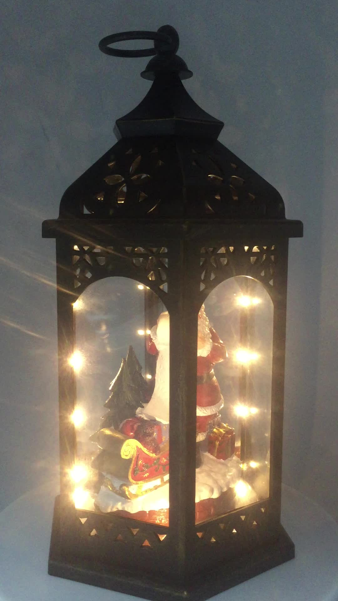 antique poly santa animation christmas village lantern
