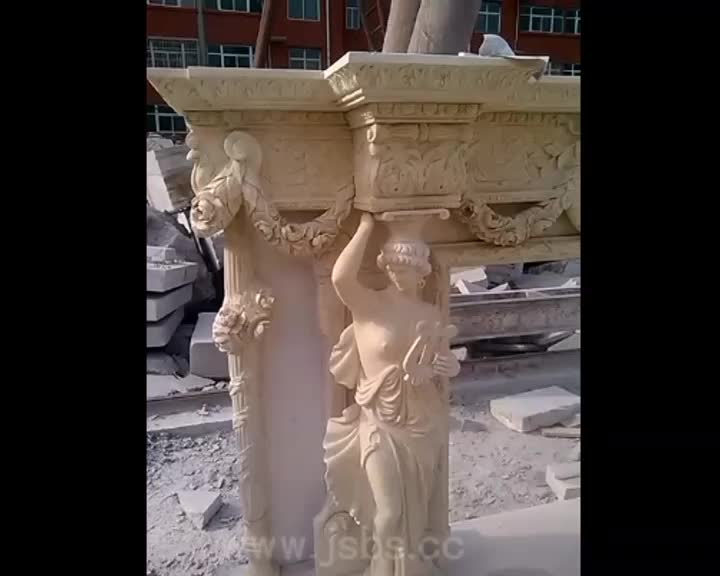 Luxury Design Hand Carved Natural Stone Carved Statues Kamin Fireplace Mantel