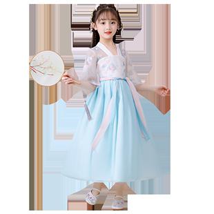 女童漢服連衣服洋氣短袖12歲女孩長裙超仙夏季小仙女裙子兒童夏裝