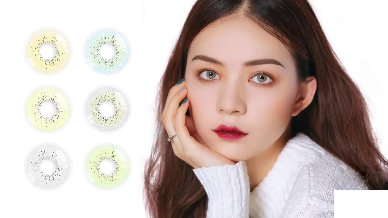 Nice Quality Tender Looking Tri Color Ocean Contact Lenses With Power