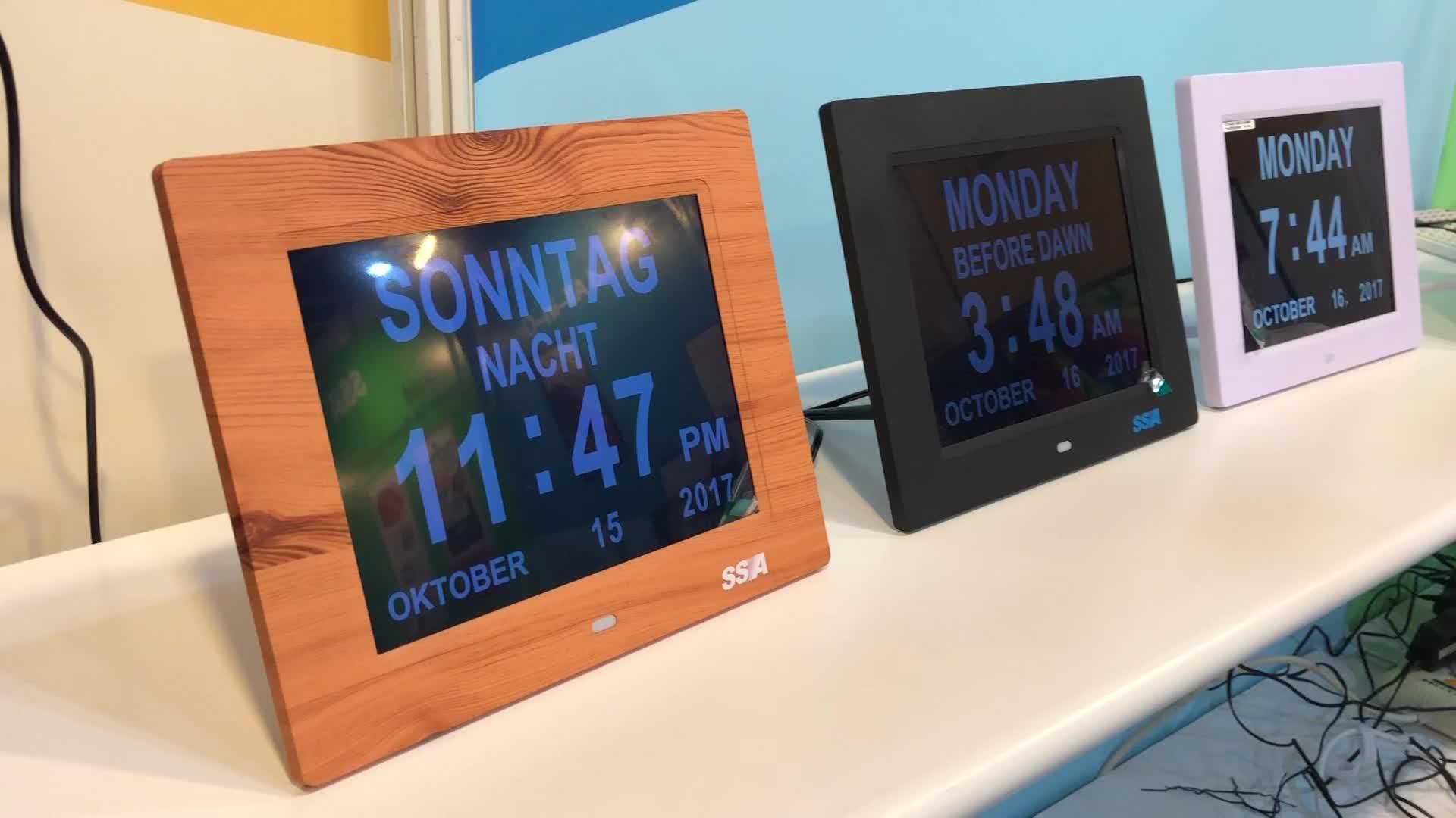 Nova versão 8 polegadas WIFI dia relógio temperatura tempo calendário digital com Multi-Lingual modelos
