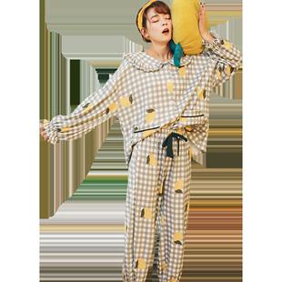 秋季款纯棉两件套装长袖可爱睡衣