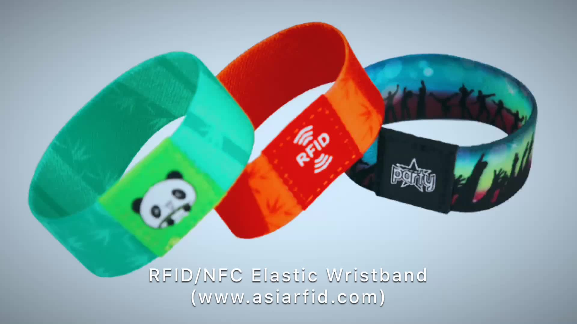 Custom Polyester Stretchy Soft RFID NFC Elastic Fabric Wristband For Events