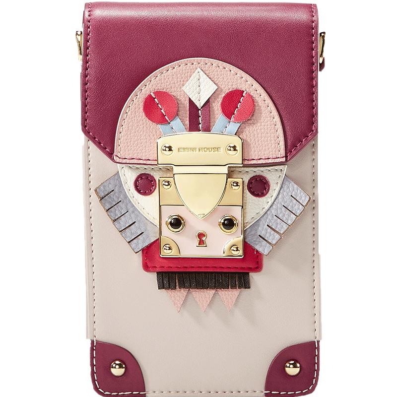 伊米妮小包包女2019新款牛皮手机包2018个性单肩斜挎包复古色女包