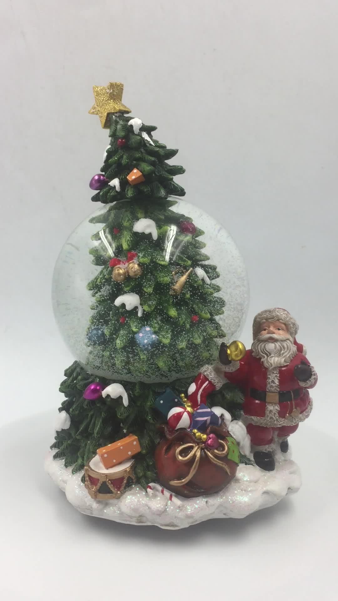 Polyresin weihnachten Santa musical wind up wasser schnee ball globus souvenir mit musik