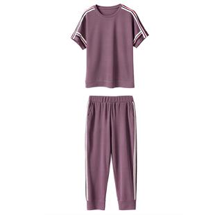 妈妈夏装短袖运动套装女2021新款阔太太两件套中老年女装洋气高贵