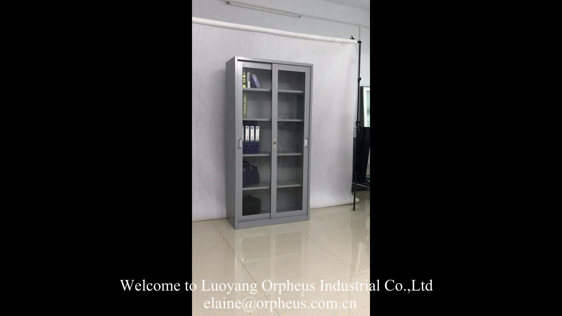 Knock Down Structure Commercial Furniture Glass Steel Cabinet Design