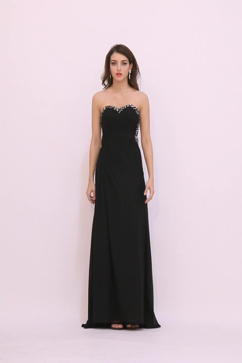 Formal Gown Sexy - Black Evening Dress Sexy Low Back Strapless Crystal Neckline Pleated Porn