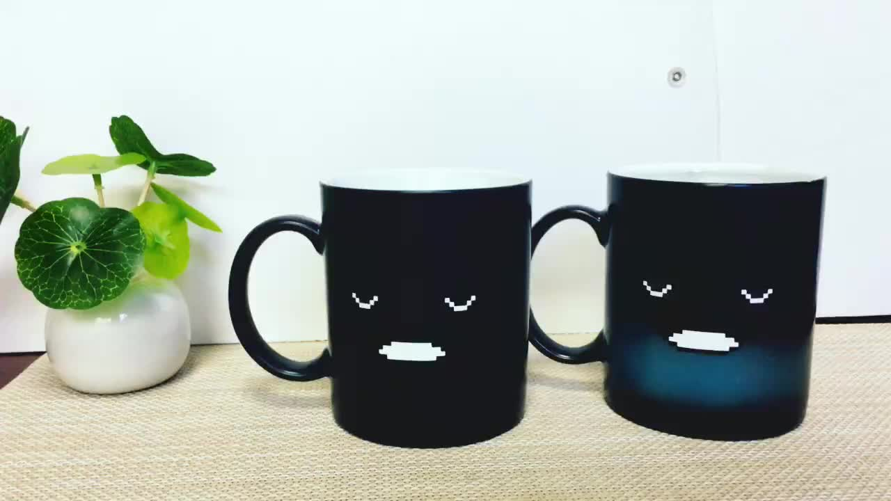 New product ideas 2019 eco friendly coffee cup ceramic mug 300ml coffee mug discoloration cup use for advertisement