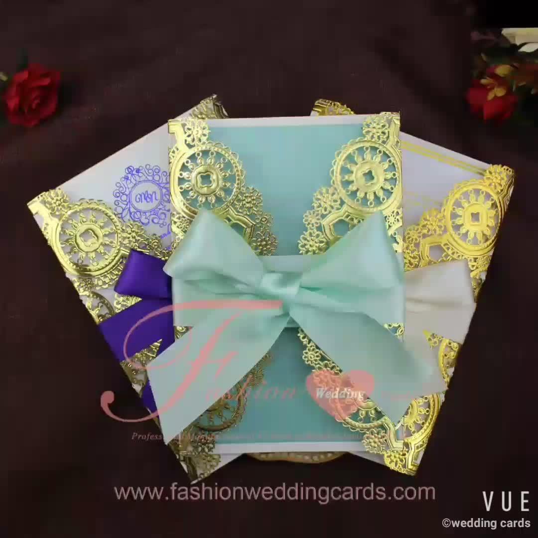 धातु गोल्ड उभरा लेजर कट रिबन शादी के निमंत्रण कार्ड