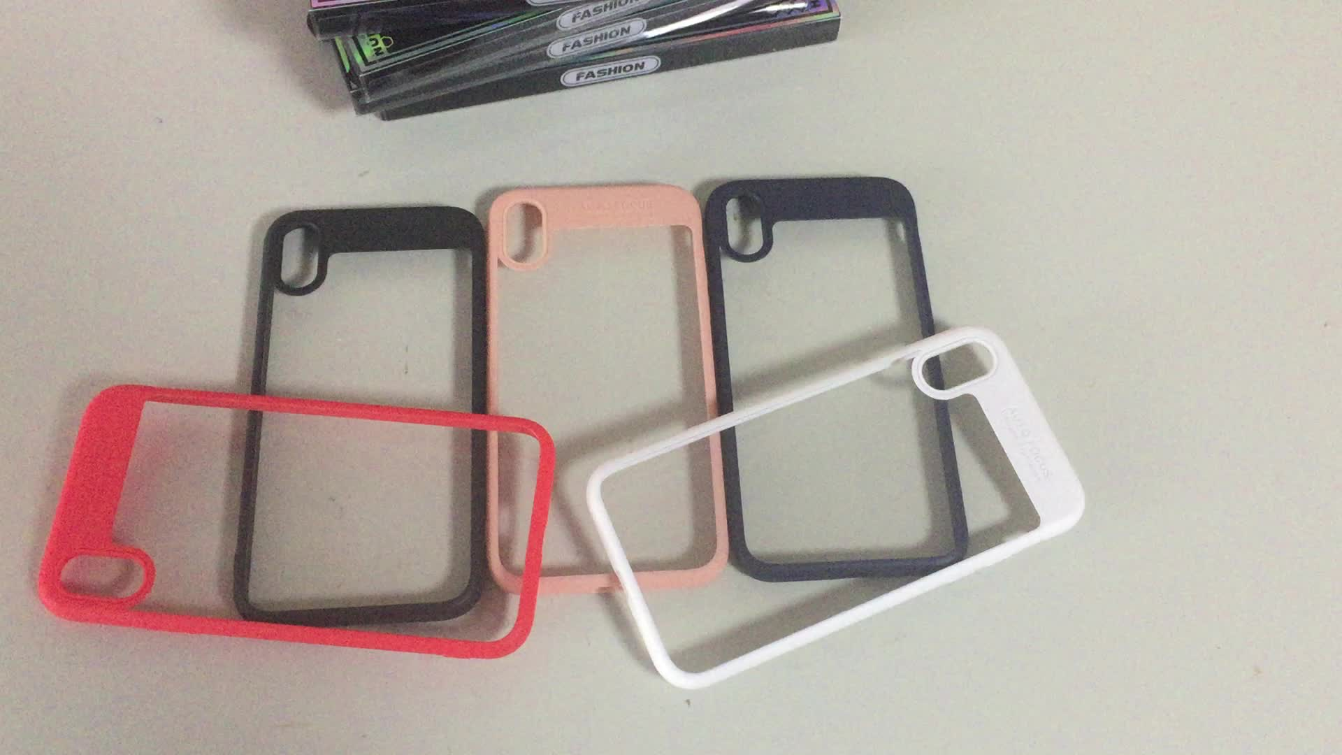 Wholesale Hybrid PC and Soft Silicon Acrylic Back Shell Transparent Mobile Phone Cover Case for iPhone X