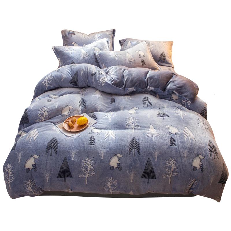 南极人四件套冬季加厚保暖珊瑚绒床单被套法莱绒双人床上用品套件