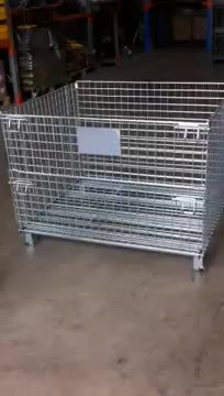 Promotional Folding Warehouse Galvanized Wire Mesh Cages Roll Box Pallet