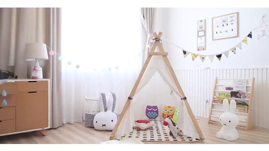 Wholesales Promotional Canvas Cotton Baby Play Teepee Indoor Wooden ...
